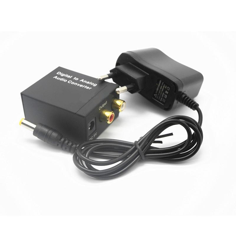3,5 milímetros Optical Coaxial Toslink Digital para Analógico Adapter Audio Converter RCA L / R com cabo de fibra óptica Power Adapter
