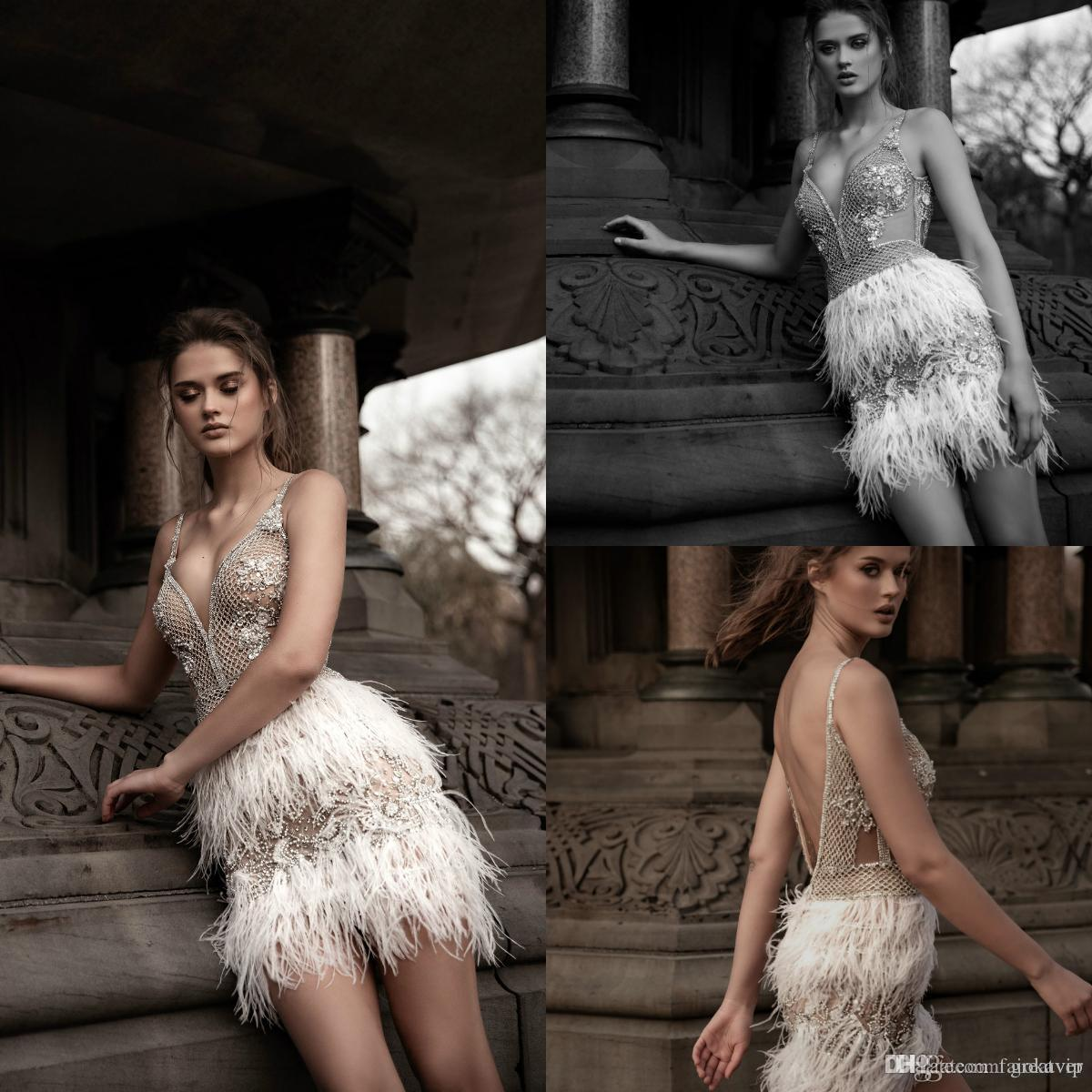 Oved Cohen 2019 Short Prom Dresses Spaghetti Beads Crystals Tiered Feather Mini Evening Gowns Custom Formal Party Cooktail Dress Sexy Wear