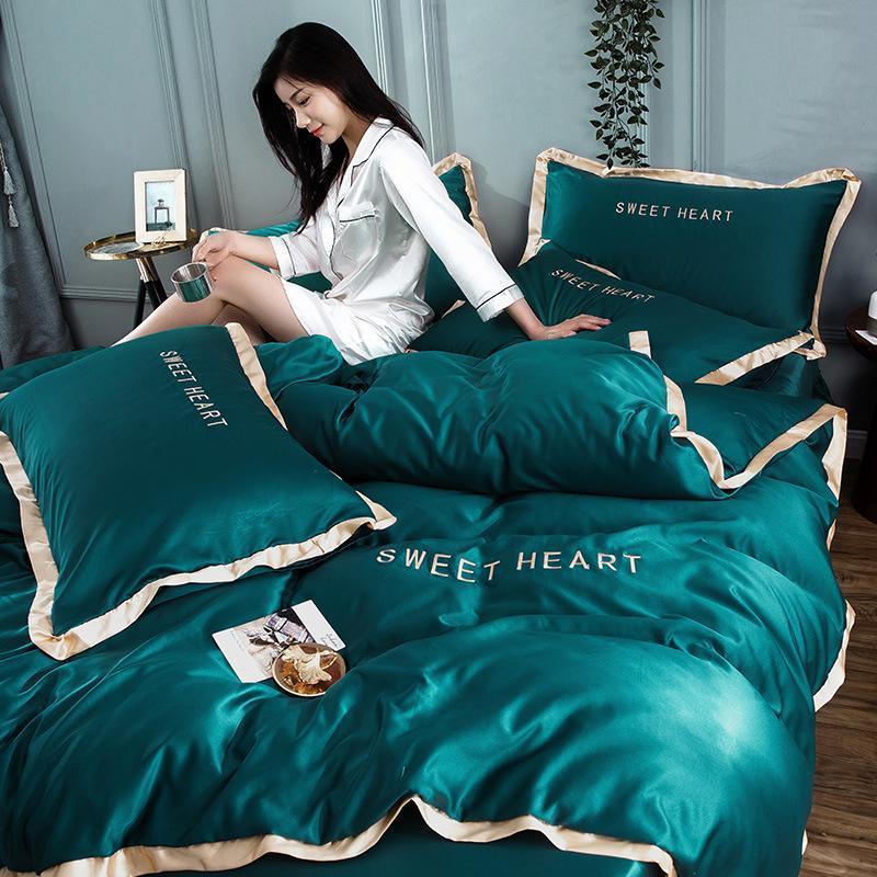 المنسوجات المنزلية الذهبي المطلة صقيل شقة الفراش الحرير مجموعة التطريز السرير مجموعة دوفيت تغطية ورقة أو المجهزة السرير ورقة الملكة الملك