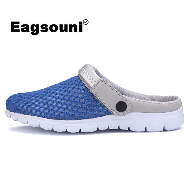 Eagsouni 2019 летние новые мужские сетчатые сандалии ультра-легкие дышащие пара пляжная Мужская обувь повседневная женская обувь