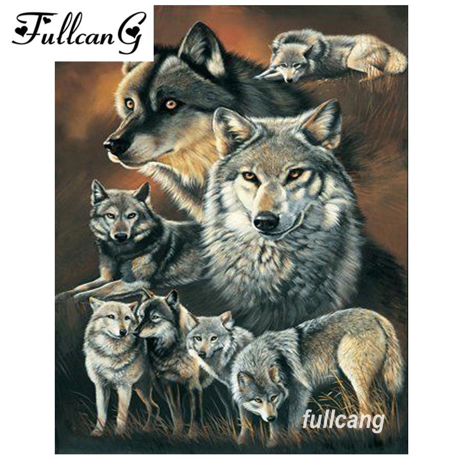 FULLCANG fai da te piazza piena di diamanti ricamo lupo famiglia 5d diamante pittura kit di punto croce mosaico ricamo D260
