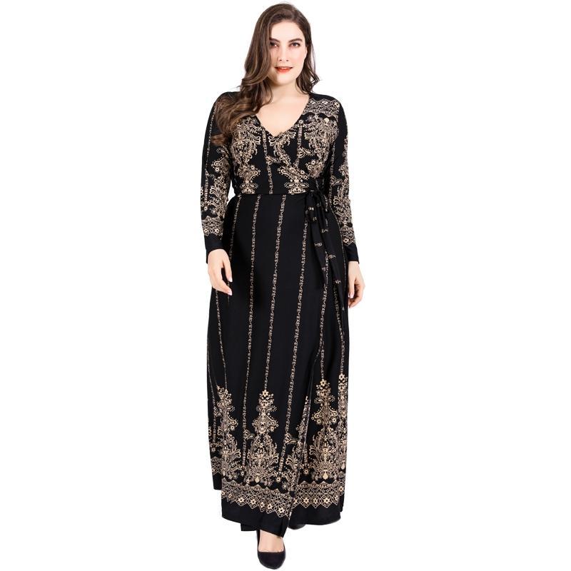 Retro floral de oro Imprimir invierno vestido de la vendimia de las mujeres con cuello en V manga larga de alta abrigo de la cintura vestido más del tamaño maxi vestidos de partido K364