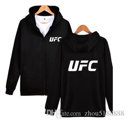 2019 الربيع والخريف MMA UFC الملابس سستة مقنعين الرجال الموضة مقنع الصوف سترة هوديس عارضة معطف القمم
