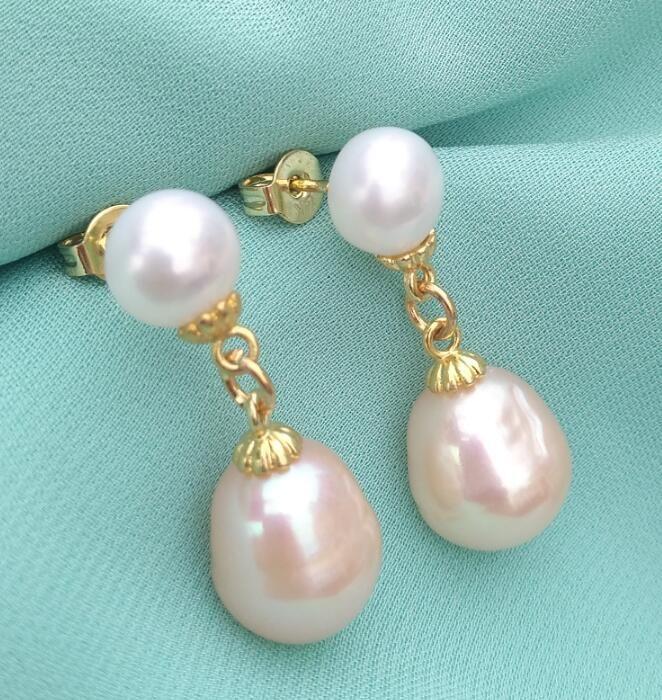 HOT Huge 7-8mm+9-10mm South Sea White+pink Pearl Earrings 14