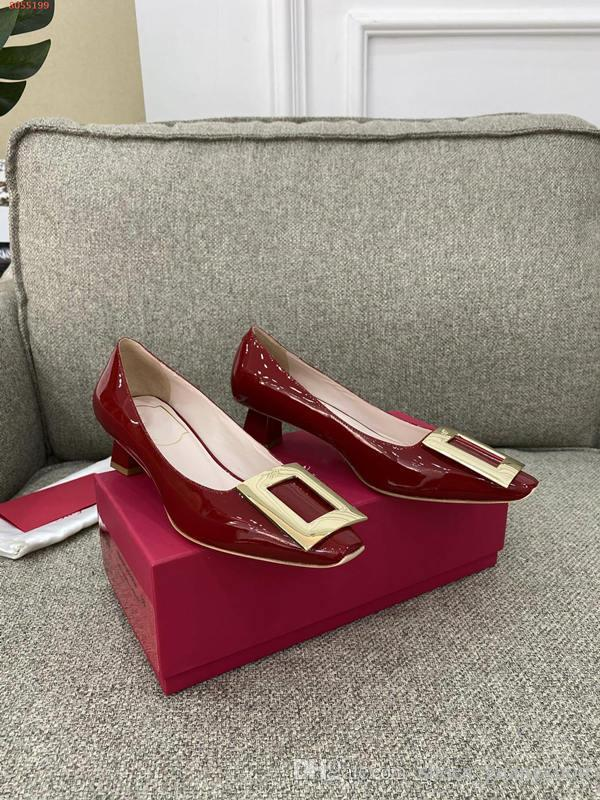High heels for fashionable Burgundy white and black square toe women with low heels dress shoes elegant temperament