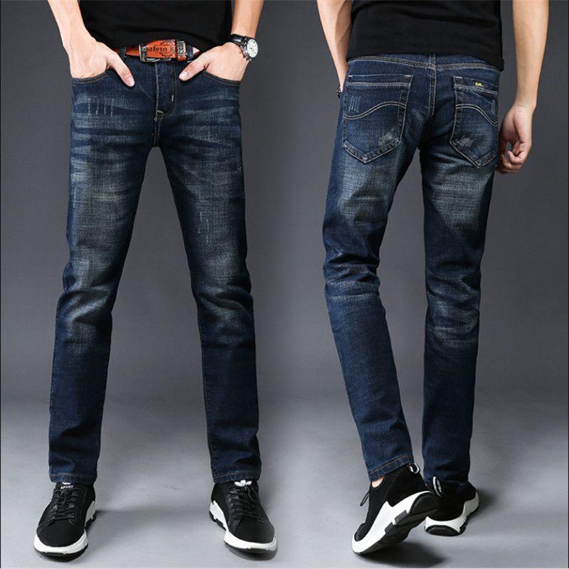 trous automne pieds minces hommes jeans tendance droite casual bleu quatre saisons élastiques de minces hommes hommes Demin jeansGTD