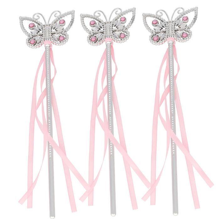 Gemma Farfalla Principessa Bacchetta da Fata Ragazze Bambini Nastri Magici Bacchette Fiamme Costume Fancy Dress Puntelli Rosa Blu addio al celibato partito