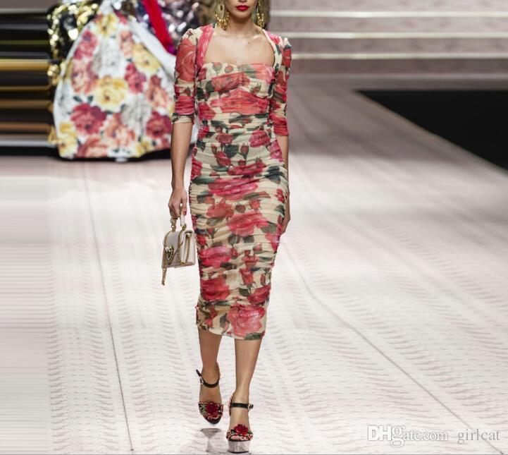 Ins sıcak toptan Paris Batı tarzı pist moda Scoop boyun Fermuar Çiçek Bodycon elbiseler