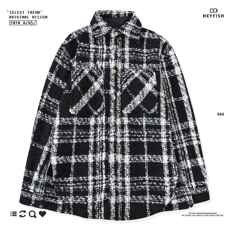 2020 marque design épaissie chemise à carreaux de HEYFISH laine d'hiver épaisse chemise INS sur la marée chemise feu deux chaud manteau de marque