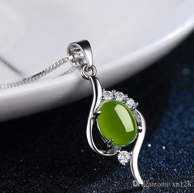 Doğal Yeşil Hetian Yeşim Kolye 925 gümüş Kolye Çin Jadeite muska moda Charm Takı Hediyeler kadınlar için onu