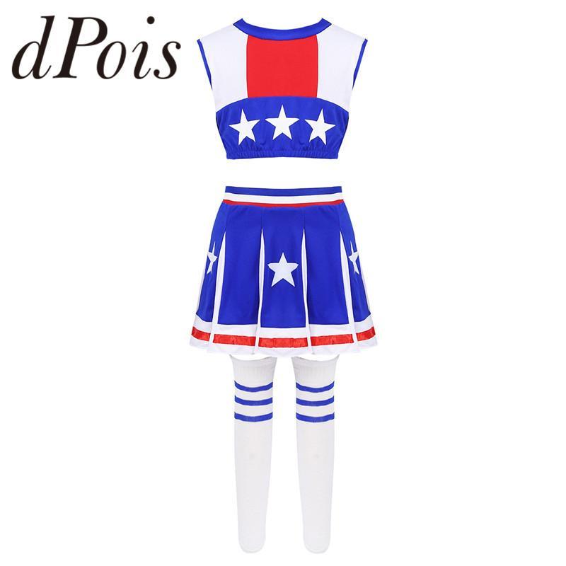 Дети Девушки Черлидинг Униформа Болельщица Косплей Outfit рукавов Звезды Printed Crop Top с мини-юбка носки Набор
