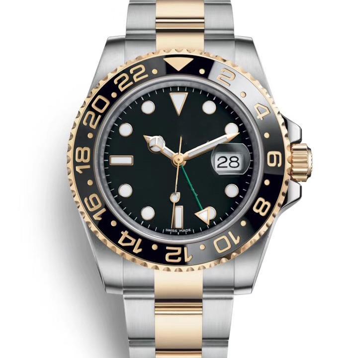 Céramique luxe Mens mécanique automatique en acier inoxydable GMT 2813 Mouvement Designer Montres maître Mode homme Montres-bracelets 2020