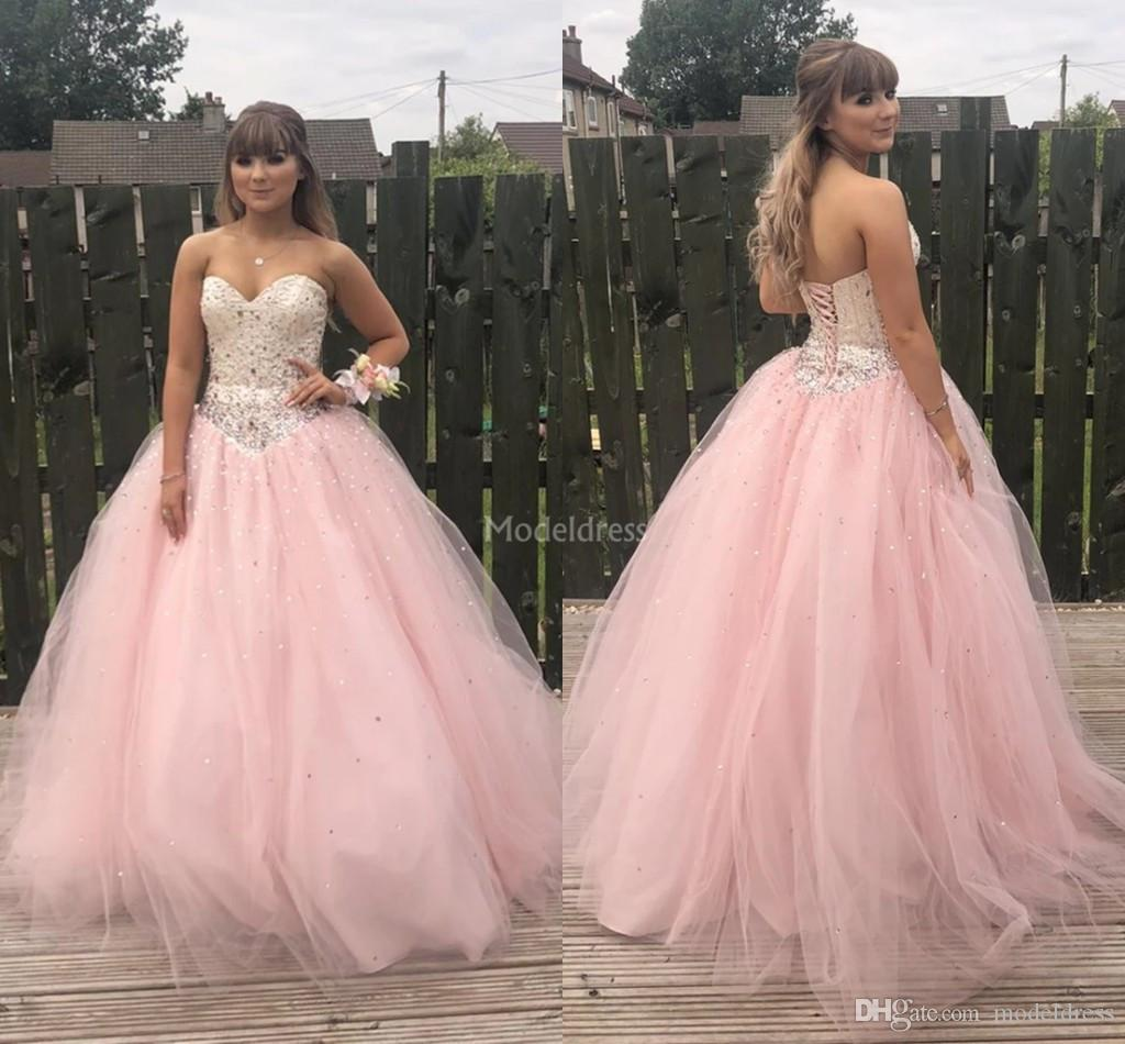 Unique Design Pink Quinceanera Dresses Strapless Open Back Beads Ball Gown Crystal Formal Party Prom Dresses For Sweet 16 Vestidos De Fiesta