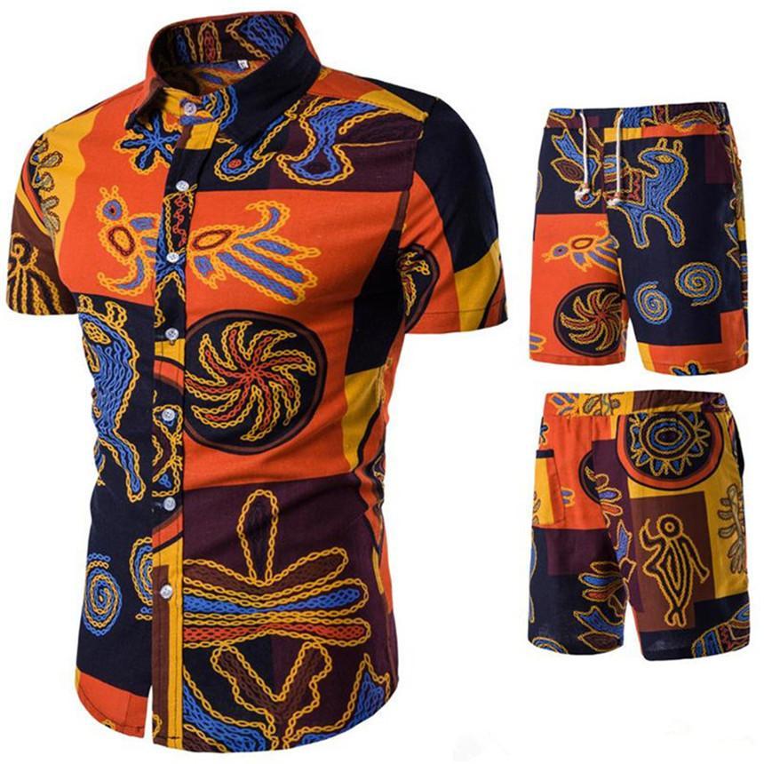 Conjuntos para hombre trajes de diseño cortocircuito de la solapa de la manga Mar Beach Holiday Shirts cortocircuitos de la ropa 2pcs chándales florales