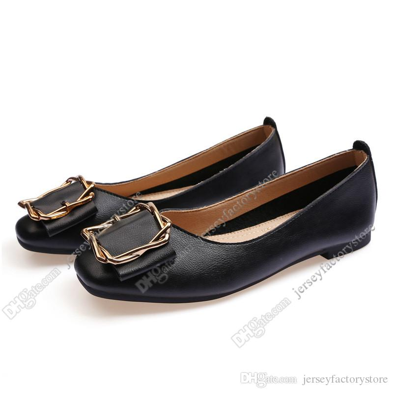 ladies flat shoe lager size 33-43 womens girl leather Nude black grey New arrivel Working wedding Party Dress shoes seventy