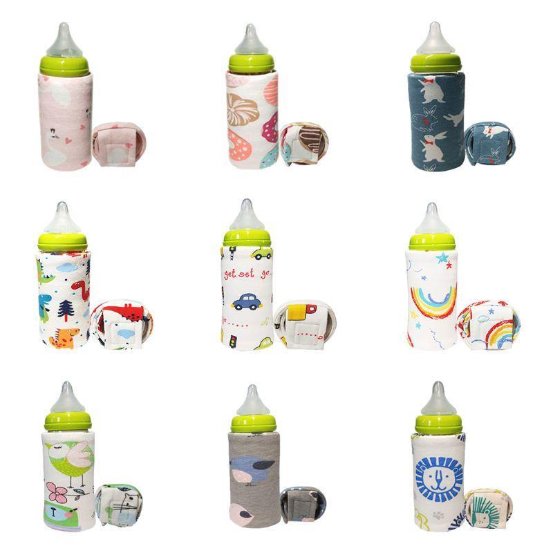 Garrafa dos desenhos animados do bebê impressão dos desenhos animados de isolamento Capa portátil Saco quente grossa Universal inferior temperatura constante Aquecimento USB