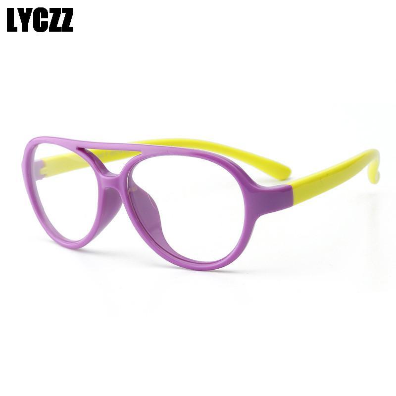 LYCZZ Enfants Lunettes Enfants Flexible TR90 Lunettes Cadre Optique Lunettes De Prescription Filles Garçons bleu Patchwork clear oculos