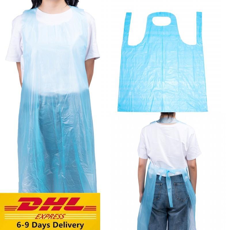 UPS 1000pcs set Großhandelseinwegschürze Transparent Easy Use Schürze für Frauen-Mann Küche Kochen Putzen Plastikschürzen FY4111