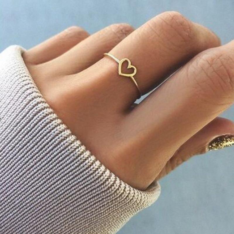 도매 2020 새로운 패션 로즈 골드 컬러 심장 여성 발렌타인 데이 선물 결혼 반지 모양의