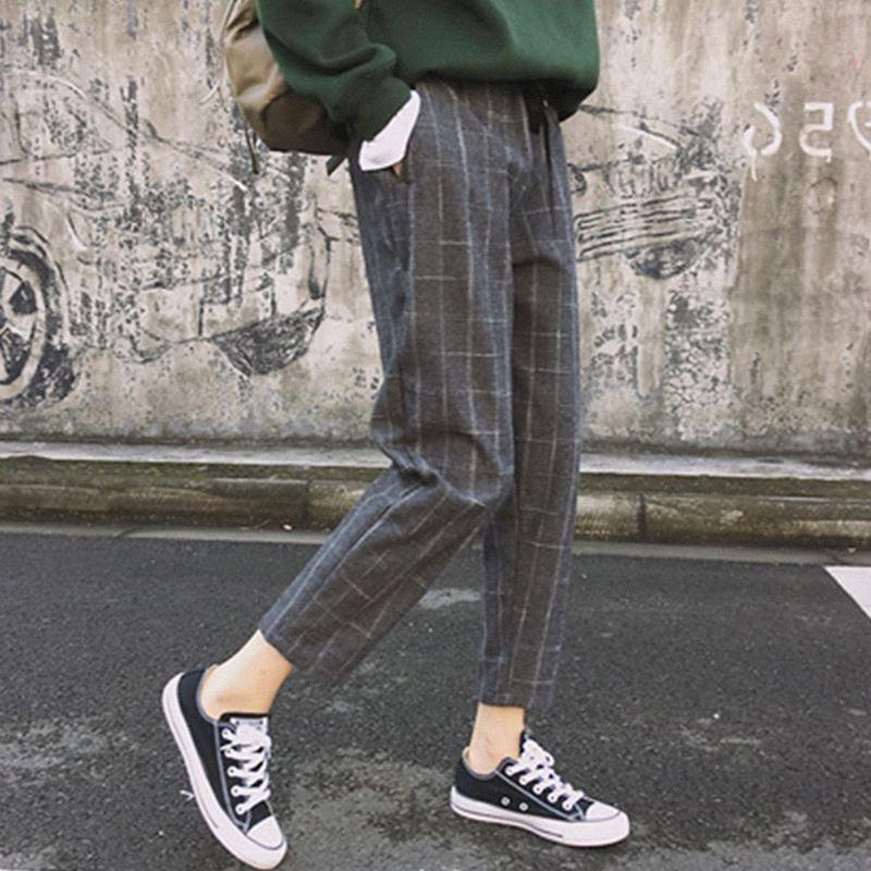 Pantalones elegantes cuadros estilo Casual mujeres otoño flojo elástico de la cintura delgada pantalones de Harajuku Mujer del tobillo de longitud Harem OPW7 #