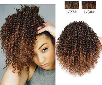 Las extensiones de pelo afro rizado rizado Cola de caballo con cordón Cola de caballo con cordón de color marrón Ombre rizado Cola de caballo para las mujeres 120g