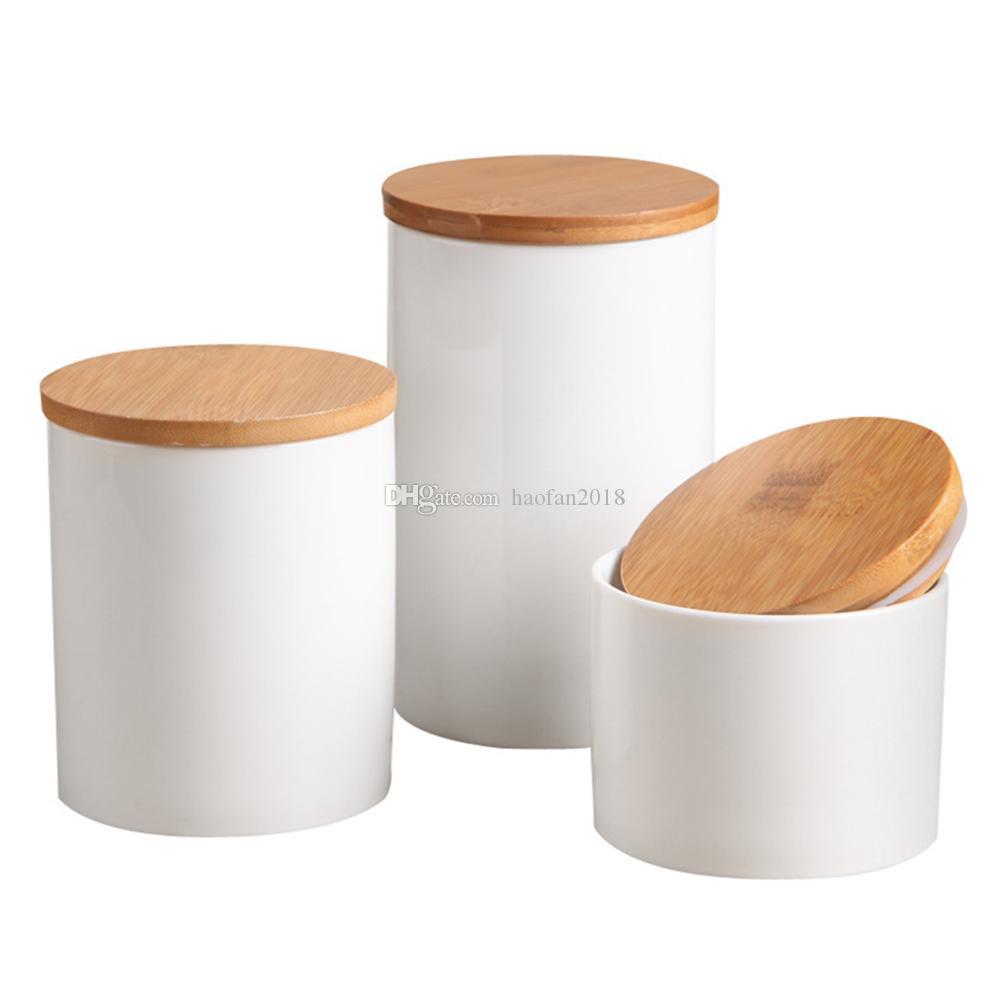Los recipientes de cerámica de color blanco puro de almacenamiento con tapa de cierre hermético de bambú, tarro de la cocina para guardar té Azúcar Café especias condimentos y Más