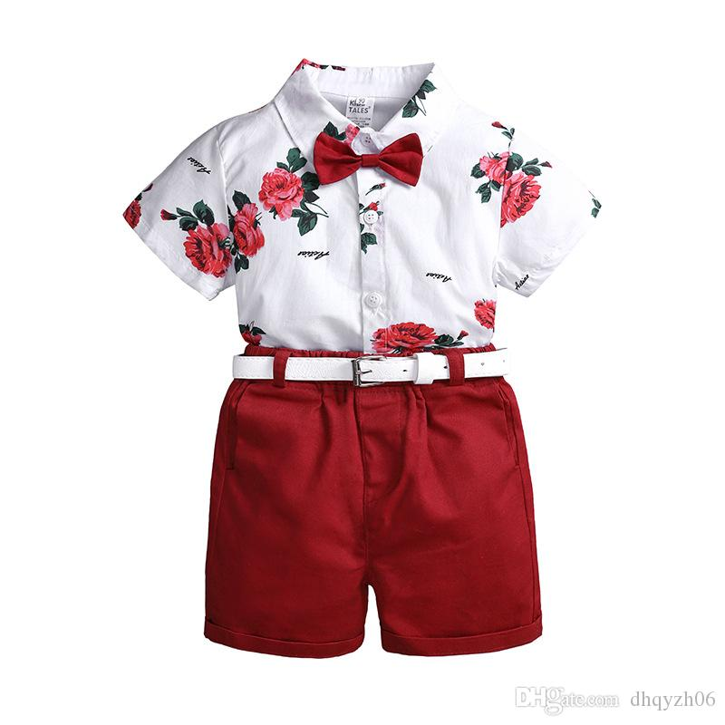 2019 여름 새로운 소년 어린이 의류 여름 유럽과 미국 큰 어린이 인쇄 셔츠 캐주얼 반바지 벨트를 보내려면