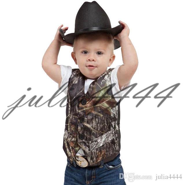 2019 V Neck Camo Boy's Formal Wear Camouage Real Tree Wedding Vest Cheap Sale Vest For Wedding Kids Formal Wear