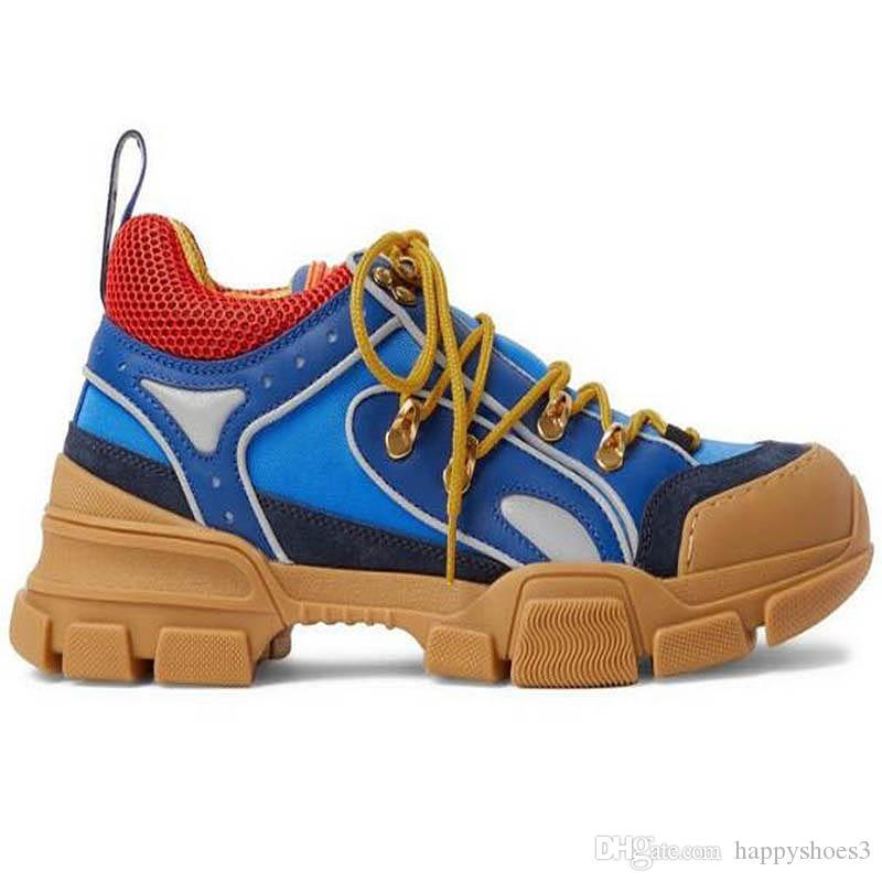 Sapatos casuais FlashTrek Sneakers Fashion Low-cut Homens Mulheres Martin genuíno sapatos de escalada de couro grosso único Esporte Shoes CC1
