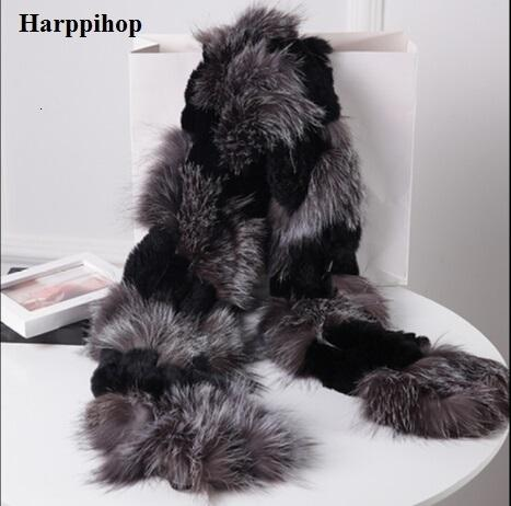 Harppihop silver fox fur black color New Fox fur c/w rex rabbit fur scarf wrap cape shawl best Christmas gift birthday gift V191205
