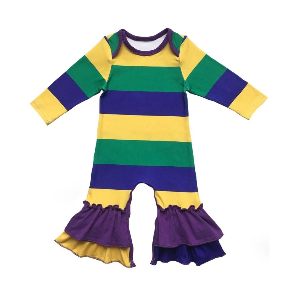 Purple Green Gold Color Custom Print Infant Clothes Silk Milk Jumpsuit Romper Baby Gowns For New Orleans Mardi Gras Holiday Y19050602