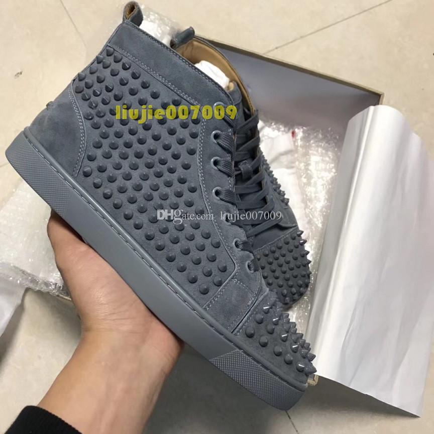 2020 Beliebte Designer Frau verursachende Schuhe Mann Turnschuhe Mode Grau Blau Nieten Unisex Designer-Schuh-Tropfen Verschiffen-Größe 35-46 mit dem Kasten