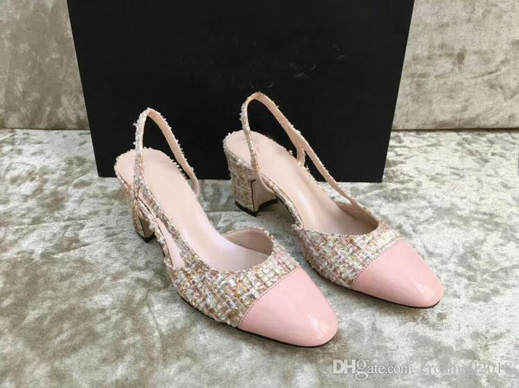 Charm2019 High Heels Women's Pumps Patchwork Silk Plaid Cut-outs Chunky Heels Sandals Summer Slip On Sweet Pink Party Gladiator Dress Shoes