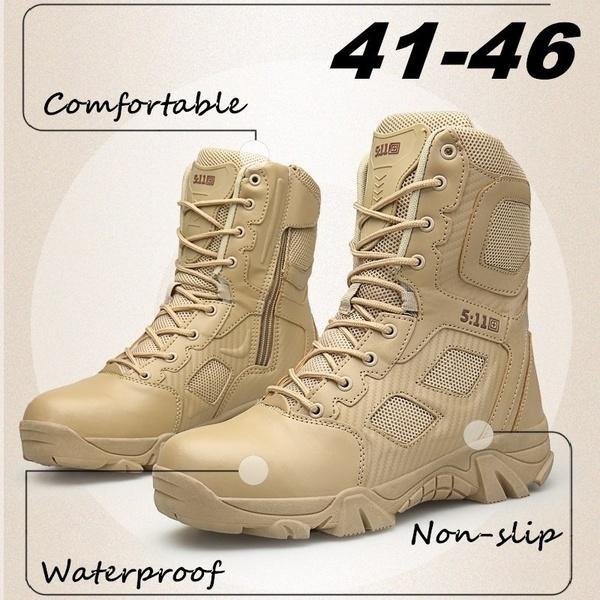 Stivali Tactical Desert da uomo di alta qualità Scarpe da lavoro Safty da uomo Stivali da combattimento SWAT Army Tacticos Zapatos Stivaletti da combattimento
