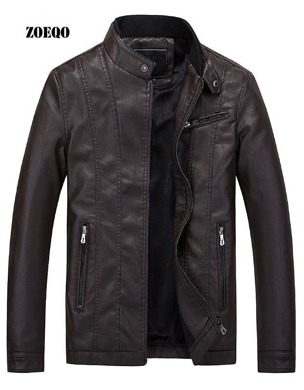 ZOEQO NEW arrivée Mode Hommes Veste en cuir Jaqueta Couro casual vestes pour hommes en cuir et manteaux Brand Design Motorcycle Jacket