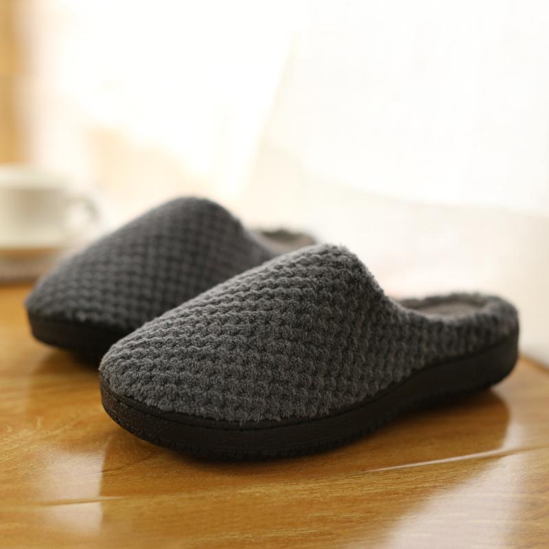 La primavera y el otoño y el invierno nuevos zapatos caseros de interior de algodón para hombre zapatillas para mujer antideslizante cómoda suelo Pareja de fondo grueso de la fregona