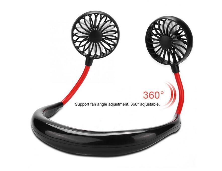Colfrol Fan portable USB Collège rechargeable rechargeable Dual Dual Air Cooling Sport 360 degrés Fans de suspension rotative1200MAH