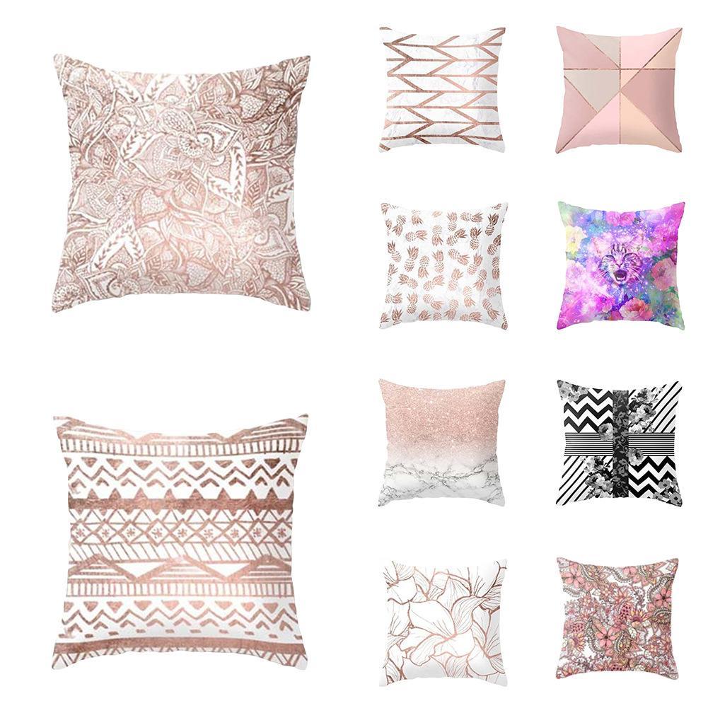 Patterns curto Plush fronha geométricas Plush Pillowcase Popular Praça Plush Furry Pillowcase Tampa Decoração VT0096