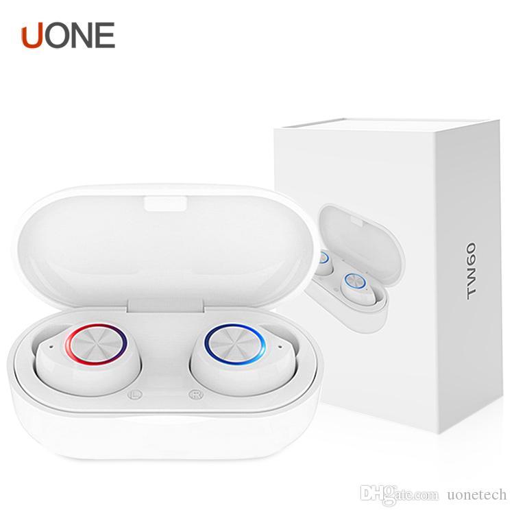 TW60 TWS inalámbrica Buletooth del auricular de los auriculares 5.0 Touch Control Bajo envolvente de alta fidelidad estéreo de auriculares auriculares con la caja de carga PK i9s i12