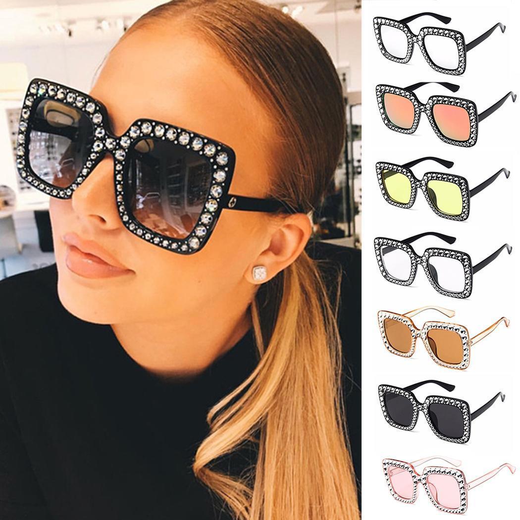 Al por mayor-Moda Mujeres estilo vintage gafas de sol cuadradas con gafas de sol con montura de plástico Gafas de sol cuadradas con gafas cuadradas