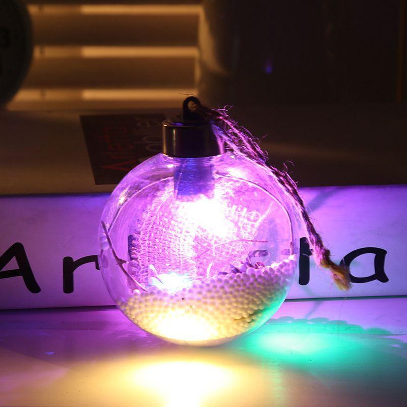 LED Xmas Ball Transparent Snowflake Ball Christmas Tree Decoration Ornament DIY Plastic Craft Baubles Decor