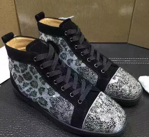 Chegada Nova famoso projeto Mens Mulheres camurça preta prata preto crys Sneakers inferior vermelha altamente superior, Brand calçados casuais 36-46 Drop Shipping