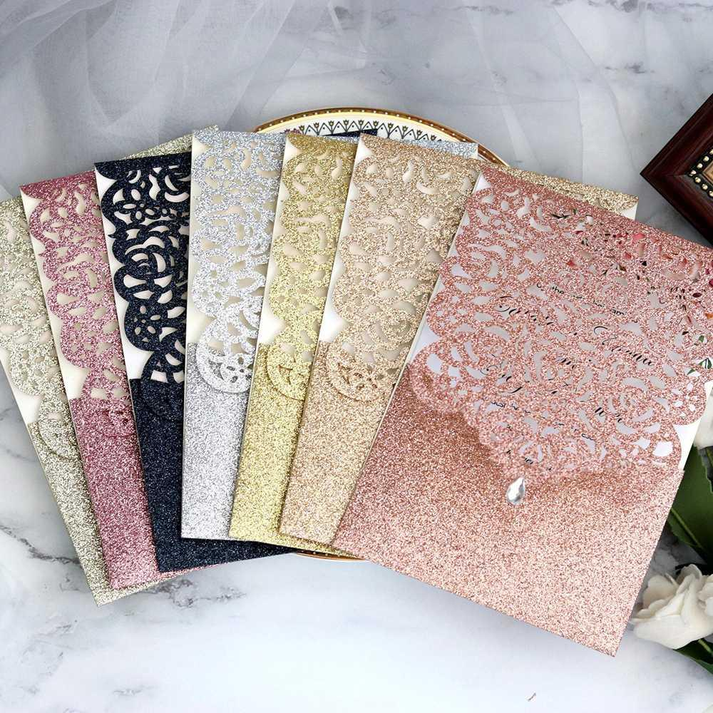 10pcs Wedding Invitation Hollow Lace Pattern Laser Cut Pocket Diamond Sealed Wedding Card Anniversary Greeting Card