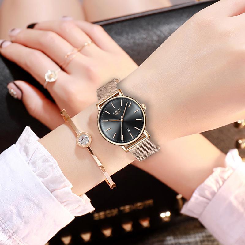 Lige Femmes Montre Top Marque De Luxe Super Étanche Montre-Bracelet Dames En Acier Inoxydable Étanche Montre-Bracelet À Quartz Montres + boîte Y19062703