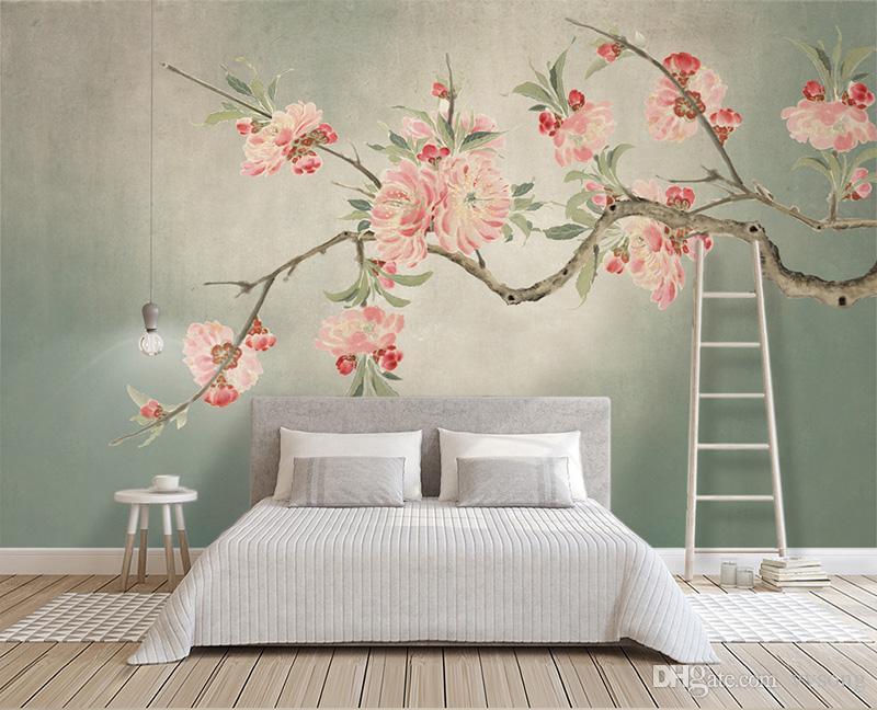 العرف صور خلفيات 3d باليد الطلاء زهر الخوخ الجداريات الكبيرة غرفة المعيشة أريكة غرفة نوم اللوحة ديكور المنزل زهرة خلفيات