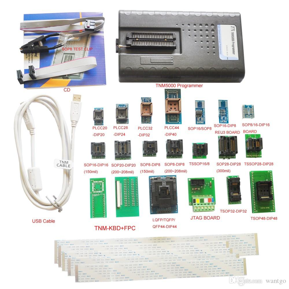 Freeshipping TNM5000 USB EPROM Programmer+19pc socket includes TNM-KBD adapter,for vehicle /notebook/laptop repair,support ISP,JTAG,NAND