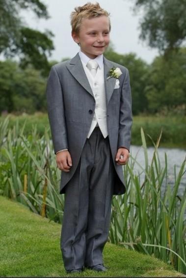 Light Grey Monning Suit Boys Formal Wear Tailcoat Peak Lapel Children Suit Kid Birthday Prom Party Suits (Jacket Pants Vest Tie )D72