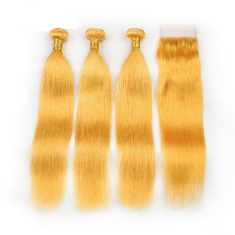 Jaune Remy Remy Cheveux humains Wefts 3 Bundles avec une fermeture de dentelle 4x4 Livraison gratuite