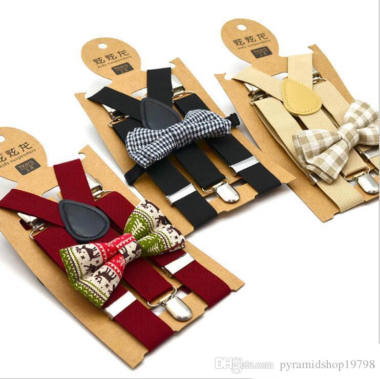 Bow Tie enfants Suspenders Garcons à carreaux imprimés croisillons élastiques Grille Y avec bretelles Bow Tie Mode ceinture bébé rétro sangle clip Y-retour
