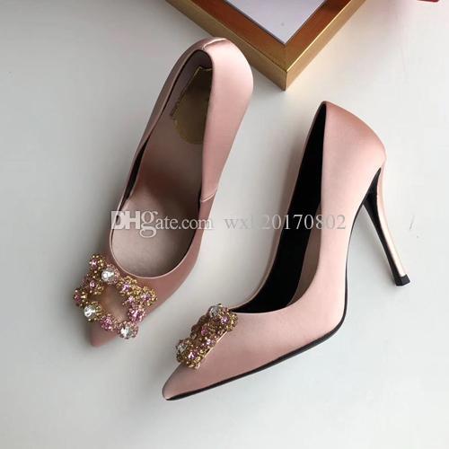 2021 Hohe Qualität Designer Party Hochzeit Schuhe Braut Frauen Damen Sandalen Mode Sexy Kleid spitz Zehen Leder Glitter